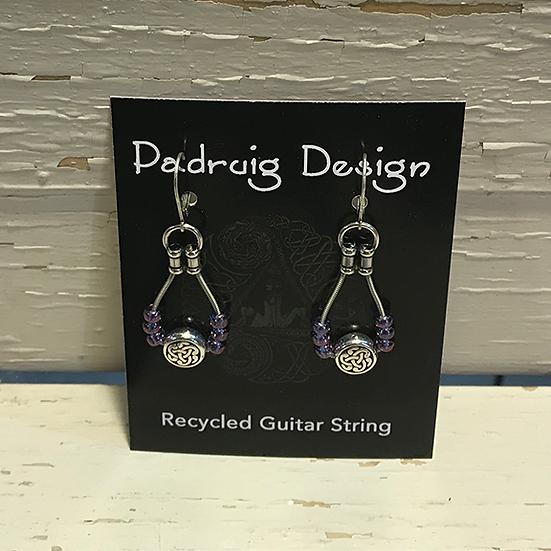 Purple Celtic Guitar String Earrings