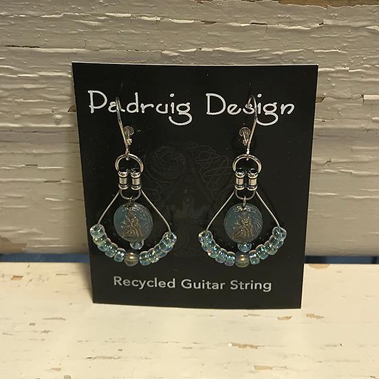 Aqua Cat Guitar String Earrings
