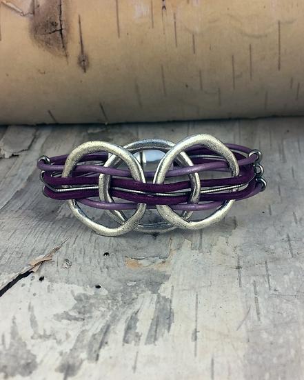 Silver 3 Circle Purple Bass String Bracelet