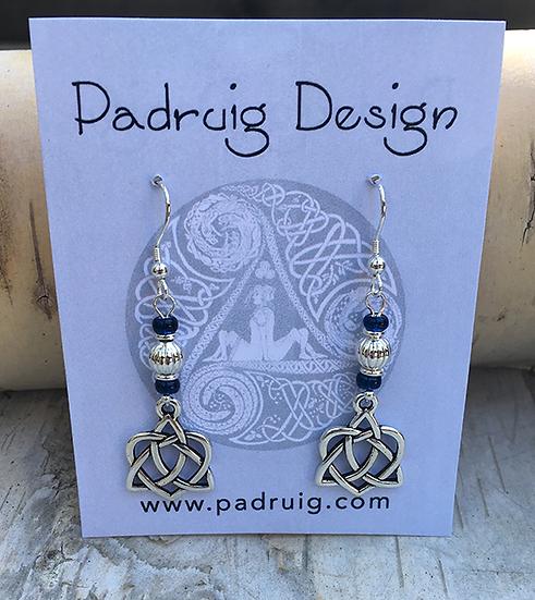 Trinity Heart Cobalt Earrings