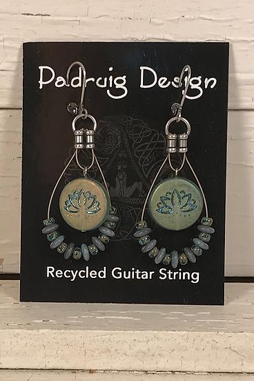 Lotus Blue Guitar String Earrings