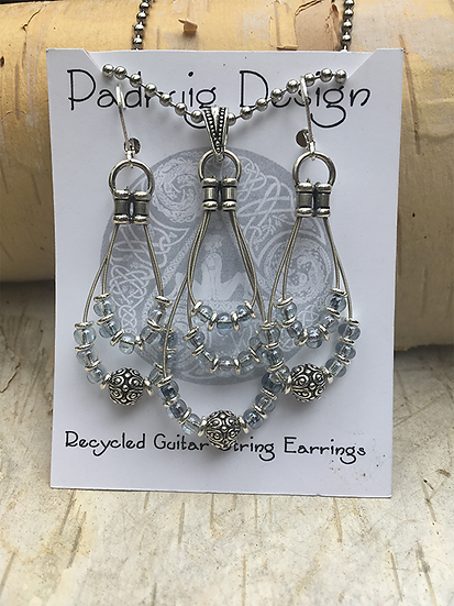 Recycled Guitar String Earring and Necklace Set