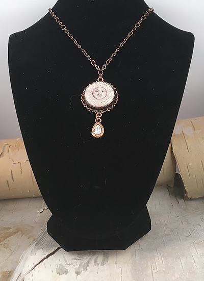 Copper Sun, Moon, & Stars with Crystal Teardrop Necklace
