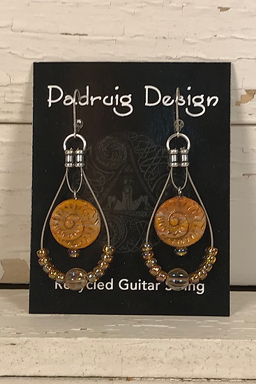Fossil Guitar String Earrings
