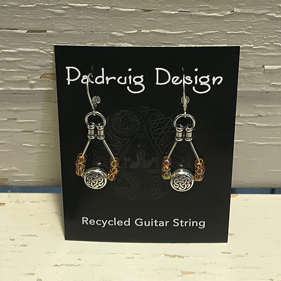 Amber Celtic Guitar String Earrings