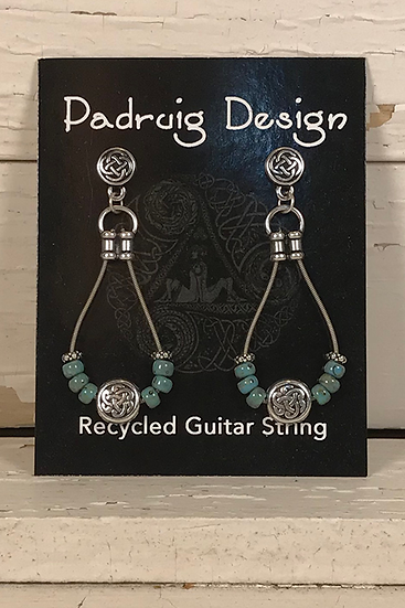 Turquoise Guitar String Earrings