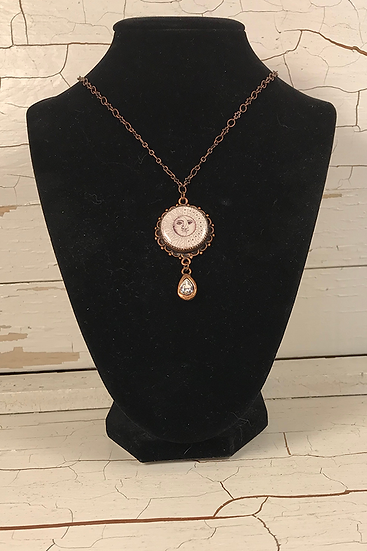 Copper Sun, Moon, & Stars Necklace with Crystal Drop