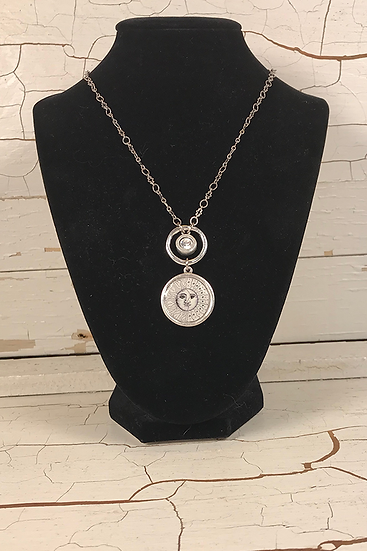 Silver Sun, Moon, and Stars Necklace