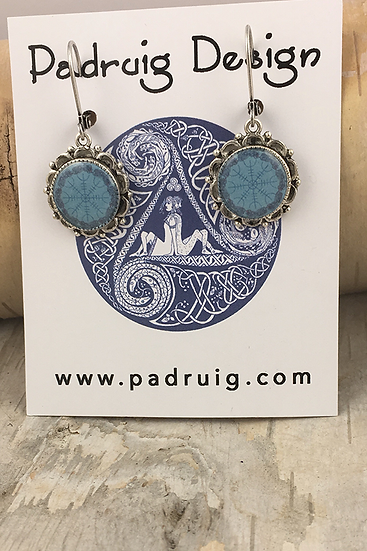 Silver Blue Helm Of Awe Earrings
