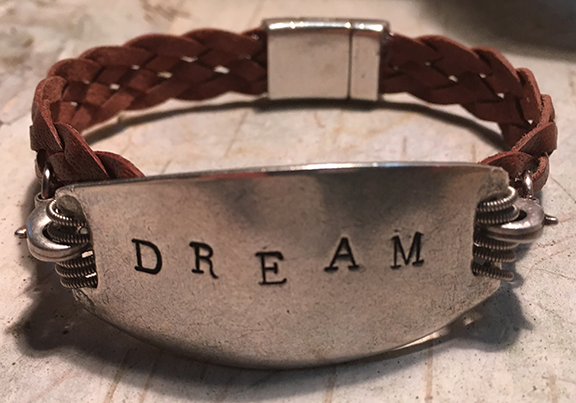Hand Stamped Dream Leather Bracelet