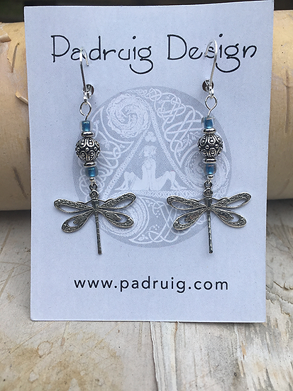 Silver and Capri Blue Dragonfly Earrings