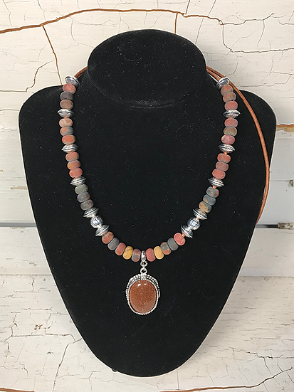 Red Creek Jasper and Gold Stone Necklace