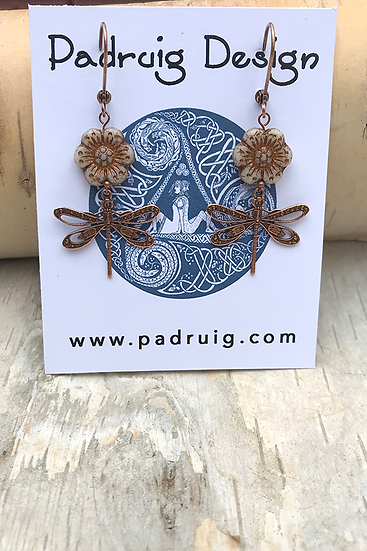 Copper Dragonfly Earring Cream Wild Rose