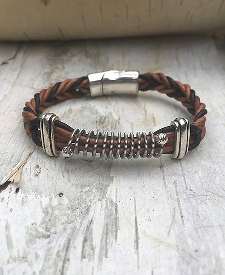 Brown & Black Leather Electric Guitar String Bracelet