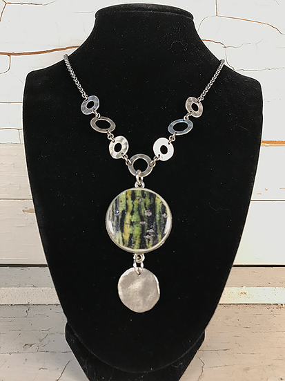 Silver Moose Maple Disc Necklace