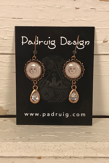 Copper Sun, Moon, & Stars Earrings with Crystal Drop