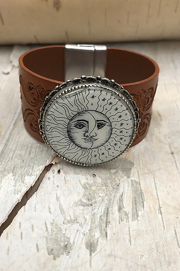 Silver Sun, Moon, & Stars Tooled Natural Leather Bracelet
