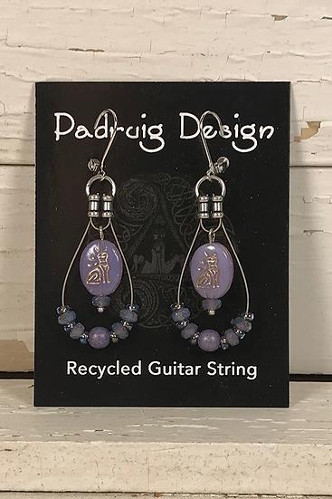 Violet Cat Guitar String Earrings