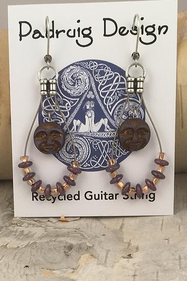 Purple Moon Guitar String Earrings