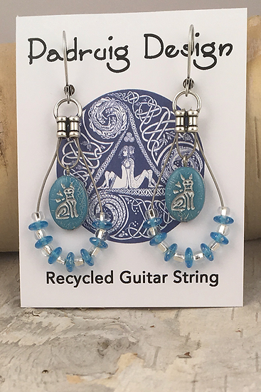 Cat Guitar String Earrings