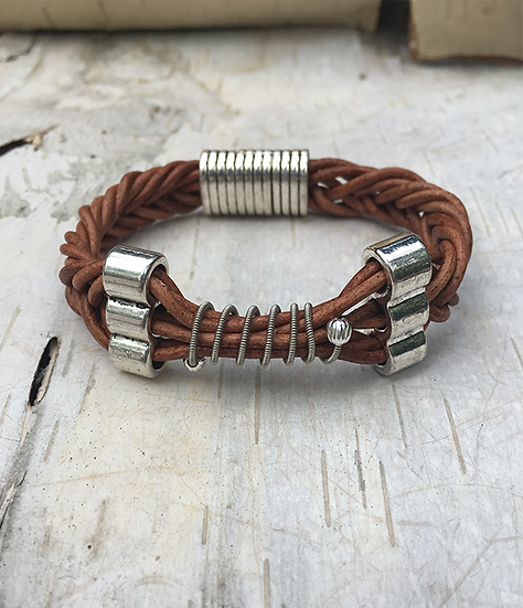 Leather Electric Guitar String Bracelet Tan
