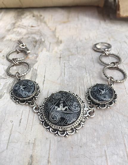Antique Silver Circle Of Life Link Bracelet Lg