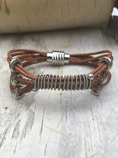 Brown Leather Electric Guitar String Bracelet