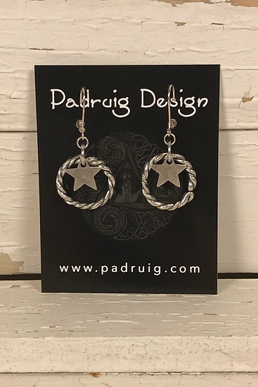 Silver Star and Circle Earrings