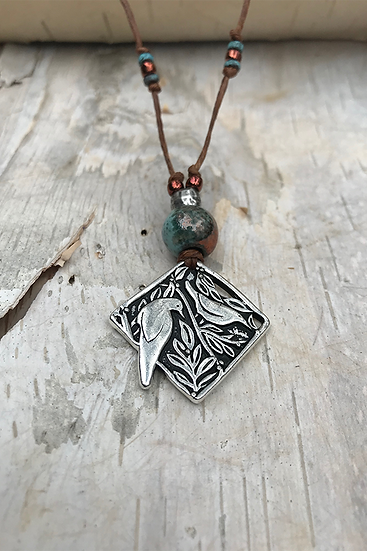 Silver Birds Diamond Necklace