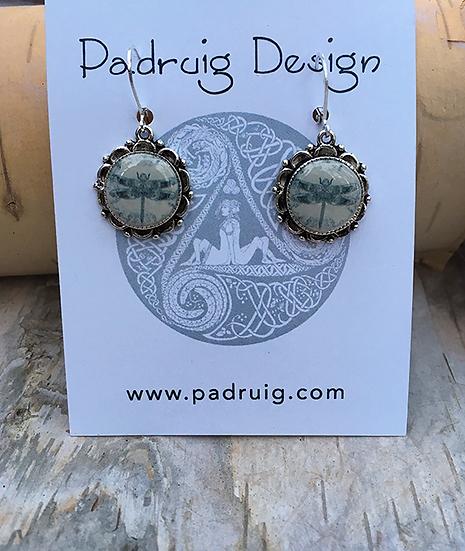 Grey Dragonfly Earrings