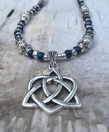 Trinity Heart Cobalt Blue Necklace