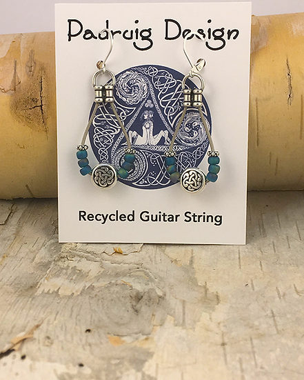 Teal AB Frost Bass String Earrings