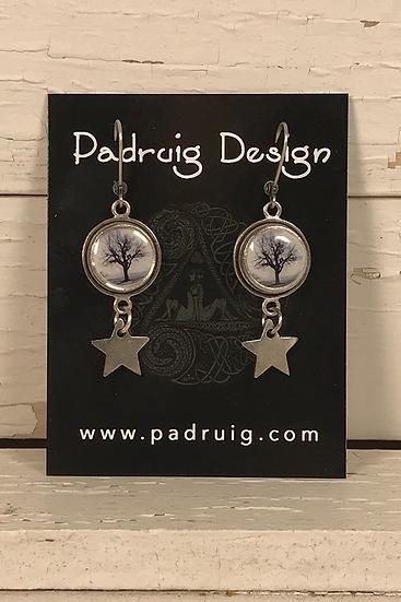 Silver Star Raven Tree Earrings