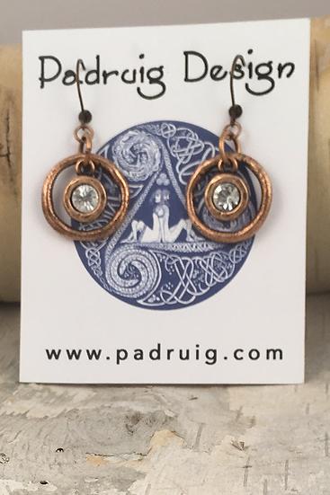Copper Circle Crystal Earrings