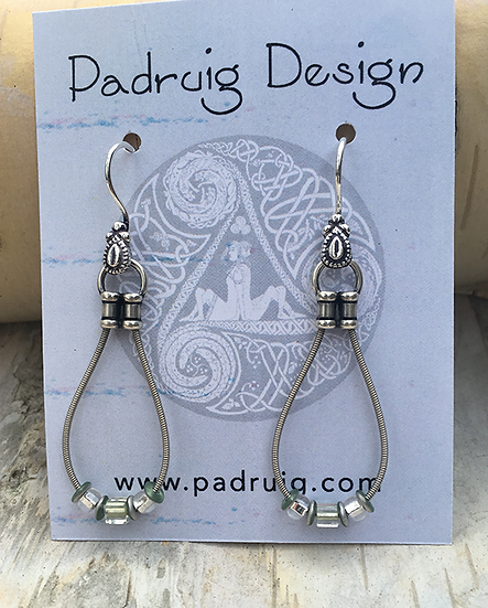Recycled Guitar String Earrings Frosted Peridot
