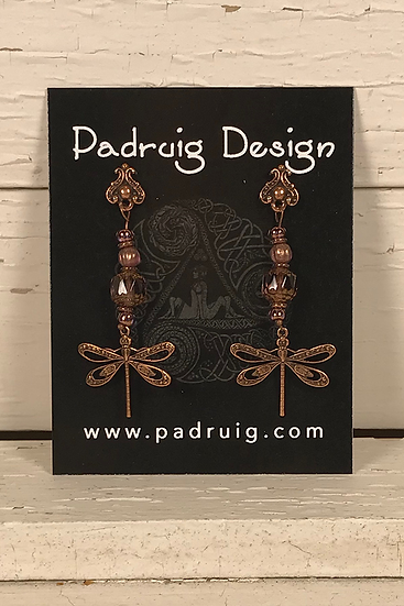 Copper Dragonfly Earrings Amethyst