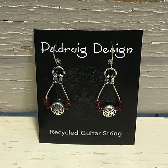 Burgundy Celtic Guitar String Earrings