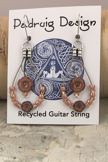 Pink Silk Flower Guitar String Earrings