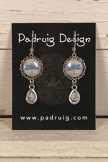 Silver Celtic Dragonfly Earrings with Crystal Drop