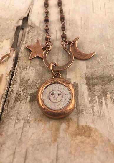 Copper Sun, Moon, & Stars Necklace