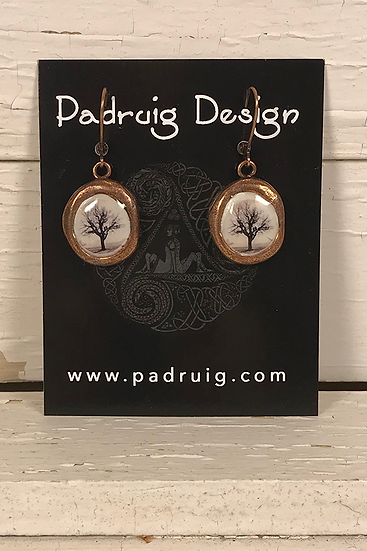 Copper Crest Raven Tree Earrings