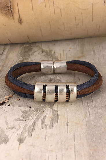 Inlay Acoustic Guitar String Bracelet Brown Blue