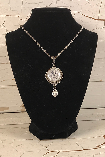 Silver Sun, Moon, & Stars Necklace with Crystal Drop