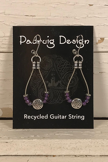 Purple Guitar String Earrings
