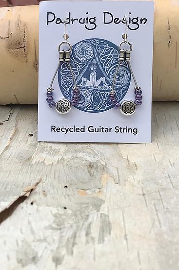 Transparent Rainbow Purple Bass String Earring