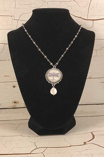 Silver Dragonfly Necklace with Freshwater Pearl Drop