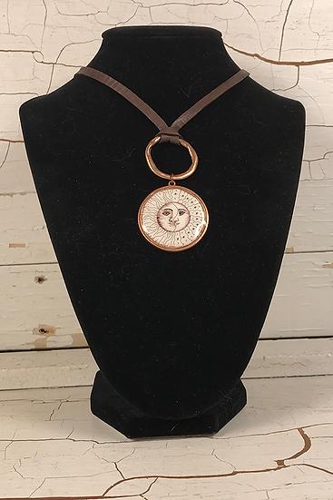 Copper Sun, Moon, & Stars Deerskin Lace Necklace