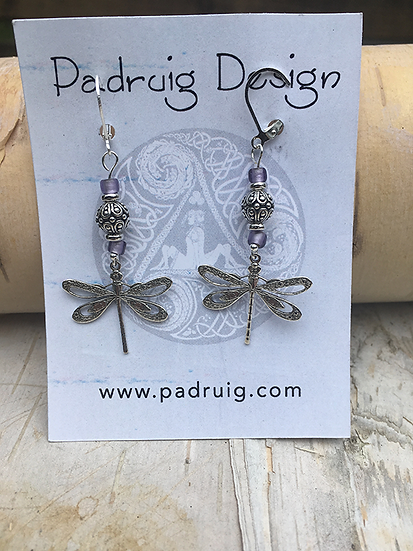 Silver and Violet Dragonfly Earrings