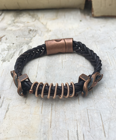 Indigo Leather Acoustic Guitar String Bracelet