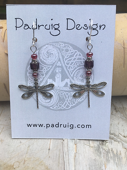Silver and Garnet Dragonfly Earrings